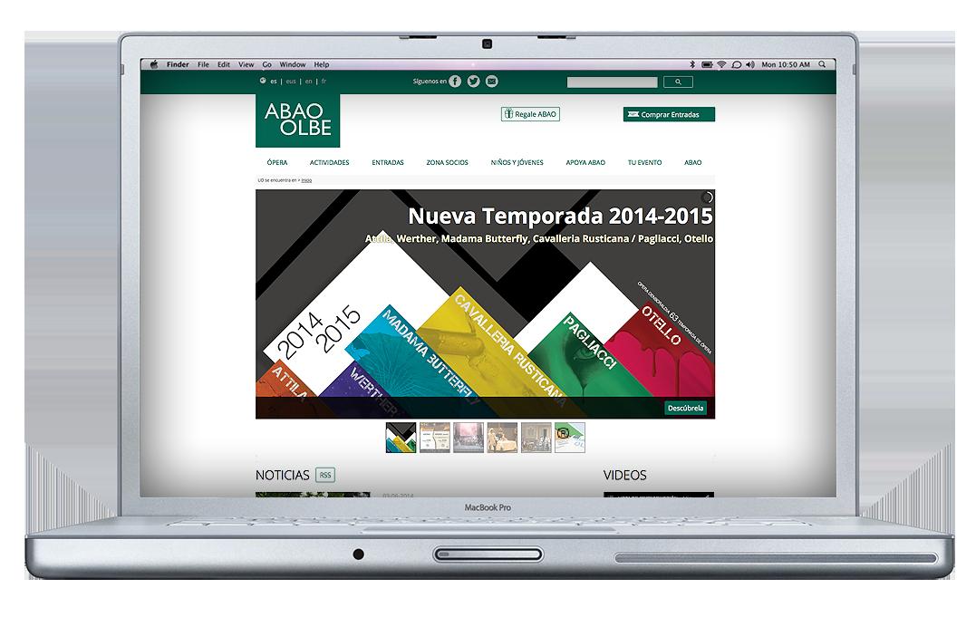 Página de inicio de la nueva web de la ABAO-OLBE